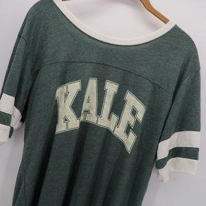 Stranded Green White KALE Stripe Sleeve Top Size L